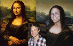 Painting comparison of original and custom Mona Lisa